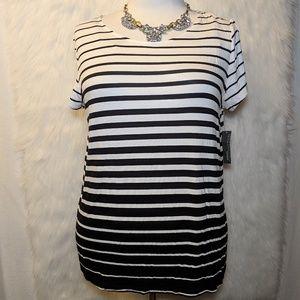 Covington Black & White Striped Tunic Top